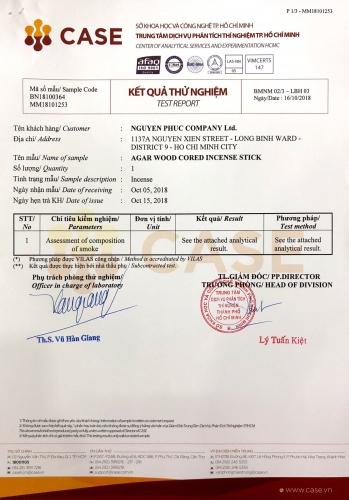 Chứng Nhận Chất Lượng Sản Phẩm Trầm Hương Phúc Nguyên Do Sở Công Thương Thành phố Hồ Chí Minh Cấp