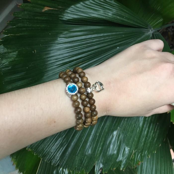 Vòng tay - chuỗi 3 vòng tay trầm hương 25 năm, cho nữ mệnh Thuỷ, dạng hạt tròn: 82 hạt x 6 mm, charm trụ đá xanh + trái tim (mạ bạc) - 2