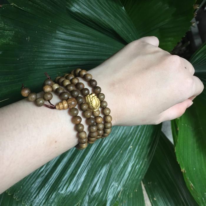 Vòng chuỗi trầm hương - chuỗi trầm hương 25 năm, cho tay nữ, dạng hạt tròn: 108 x 6 mm, charm bàn tay Phật nguyện cầu (size tay 14~15.5 cm) - 5