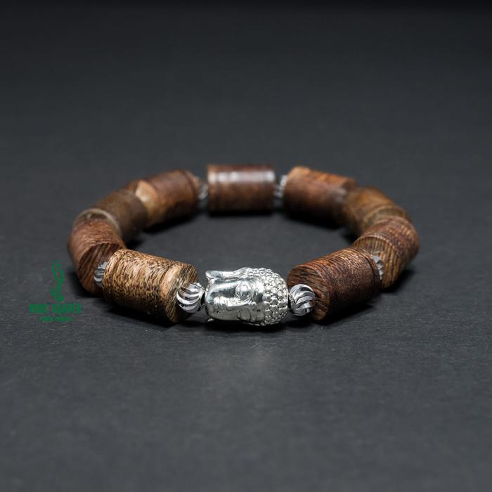 Vòng tay - Vòng Trầm Hương An Lành Phối Mặt Phật Mạ Bạc