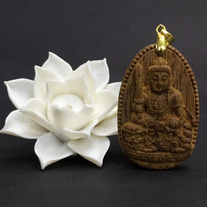 Phật Văn Thù Bồ Tát làm từ trầm 30 năm (Mặt lớn) - Đeo cổ