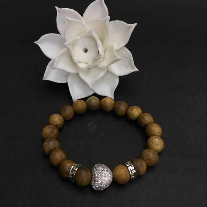 Vòng chuỗi trầm hương - vòng trầm 15 năm, cho nữ (size tay 14~15.5 cm), dạng hạt tròn: 18 hạt x 8 mm, charm Trái Tim (Bạc 925)