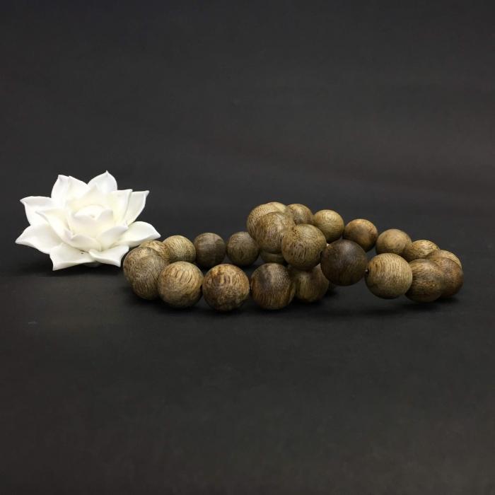 Vòng Trầm Rừng Tốc Banh Xanh, cho tay nam (17.5 cm ~ 18 cm),dạng hạt tròn: 14 hạt
