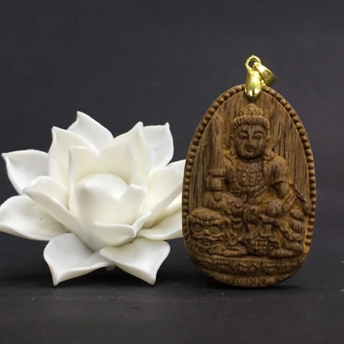 Vòng tay - Phật Văn Thù Bồ Tát làm từ trầm 30 năm (Mặt lớn) - Đeo cổ - 1