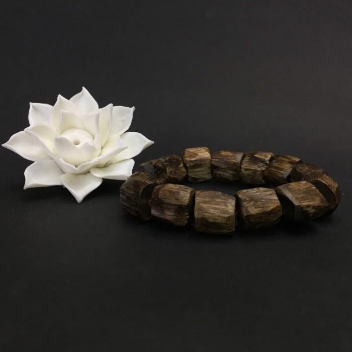 Vòng tay - vòng trầm rừng , cho tay nam (size tay 17,5 cm); dạng hạt tự nhiên: 14 hạt - 1