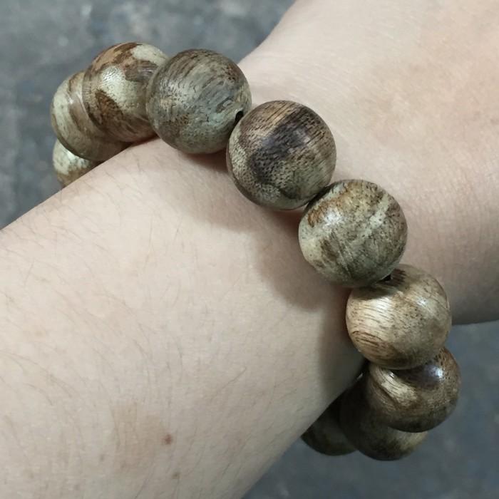 Vòng tay - Trầm Rừng Tốc Bông, cho tay nam (16.5 cm), dạng hạt tròn: 14 hạt x 14 mm - 5