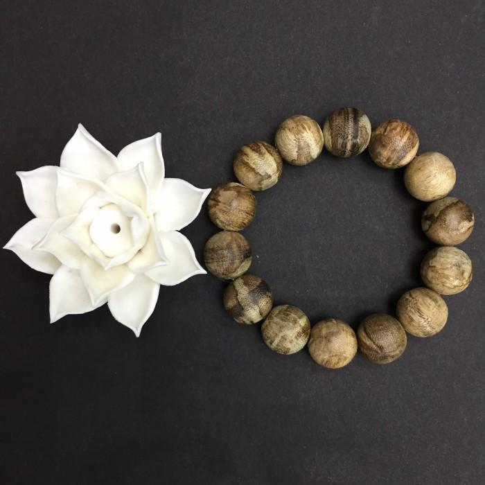Vòng tay - Trầm Rừng Tốc Bông, cho tay nam (17.5 cm), dạng hạt tròn: 14 hạt x 15 mm - 3