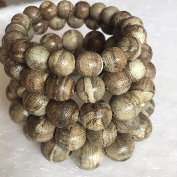 Vòng tay - Trầm Rừng Tốc Bông, cho tay nam (17.5 cm), dạng hạt tròn: 14 hạt x 15 mm - 13