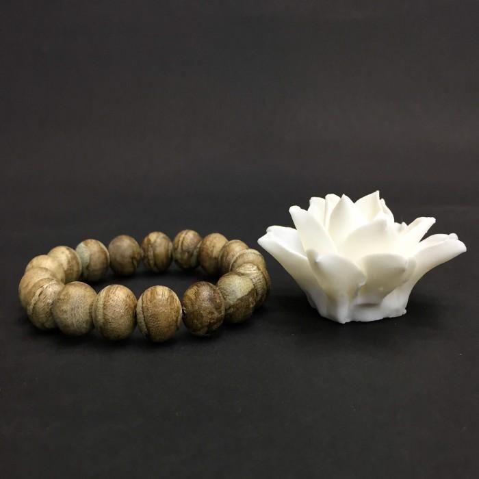 Vòng tay - Trầm Rừng Tốc Bông, cho tay nam (18 cm),dạng hạt tròn: 18 hạt x 12 mm - 1