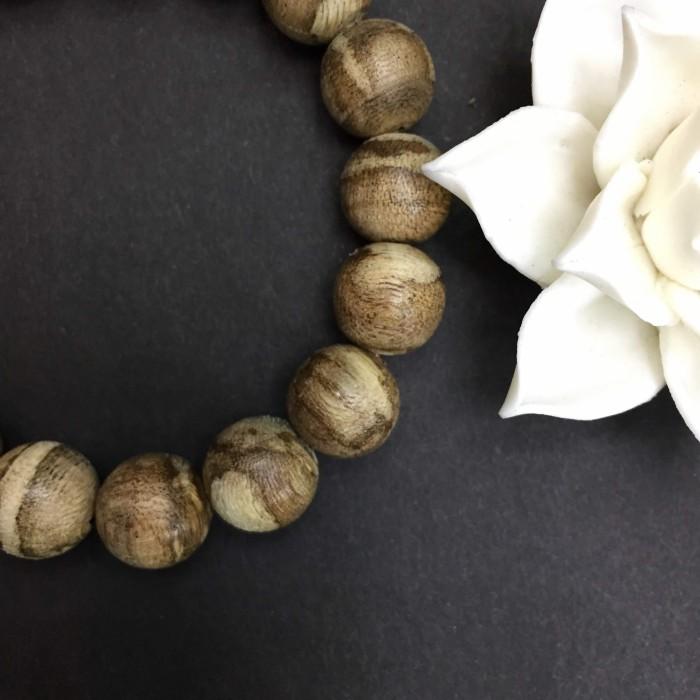 Vòng tay - Trầm Rừng Tốc Bông, cho tay nam (18 cm),dạng hạt tròn: 18 hạt x 12 mm - 6