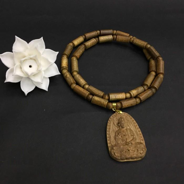 Vòng chuỗi trầm hương - Vòng cổ trầm 15 năm, dạng hạt trúc: 28 cặp x 8 mm, phối mặt Phật Quan Âm - 2