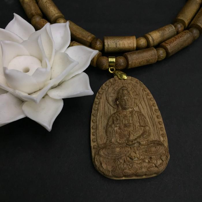 Vòng chuỗi trầm hương - Vòng cổ trầm 15 năm, dạng hạt trúc: 28 cặp x 8 mm, phối mặt Phật Quan Âm - 3