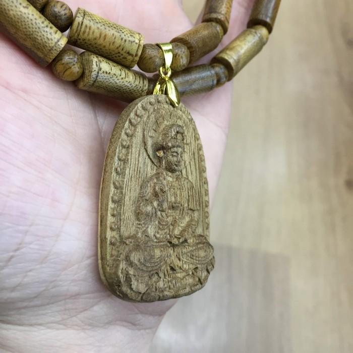 Vòng chuỗi trầm hương - Vòng cổ trầm 15 năm, dạng hạt trúc: 28 cặp x 8 mm, phối mặt Phật Quan Âm - 8
