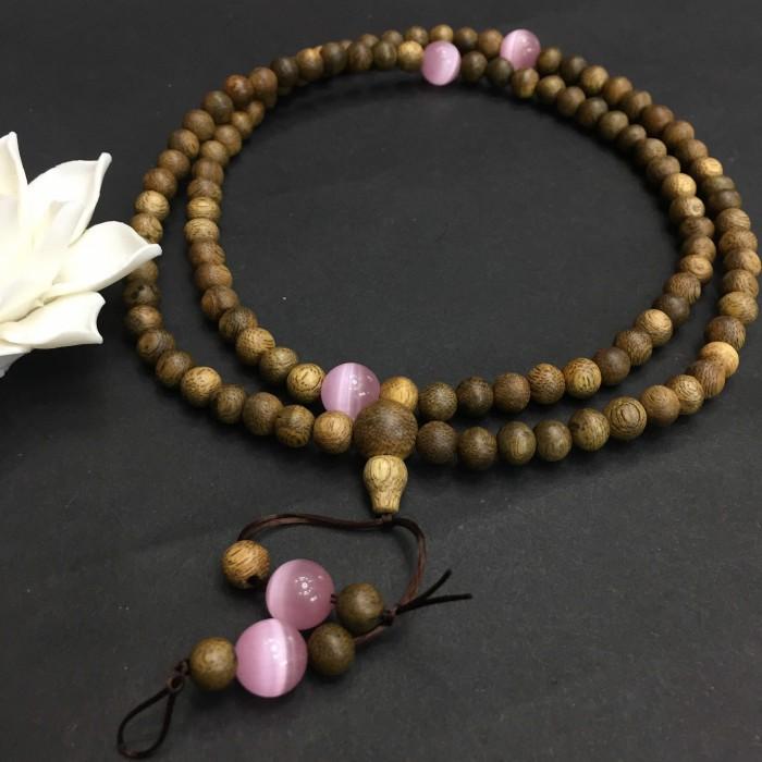 Vòng tay - Vòng trầm hương 12 năm, cho nữ (size tay 14~15.5 cm), dạng hạt tròn: 108 hạt x 6.5 mm , phối charm đá hồng - 3