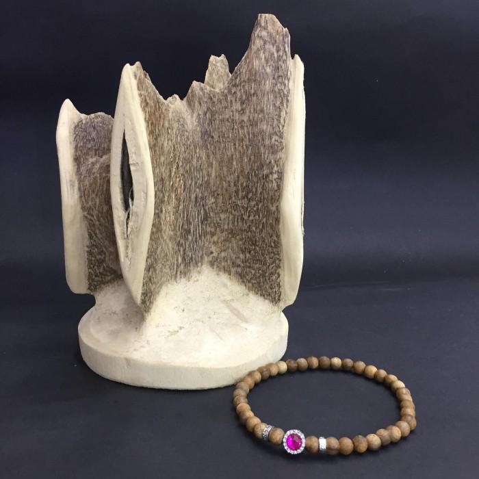 Vòng tay - Vòng đôi trầm hương 15 năm, cho nữ mệnh Hỏa (size tay 14~15.5 cm), dạng hạt tròn: 37 hạt x 8 mm , phối charm trụ đá hồng - 1