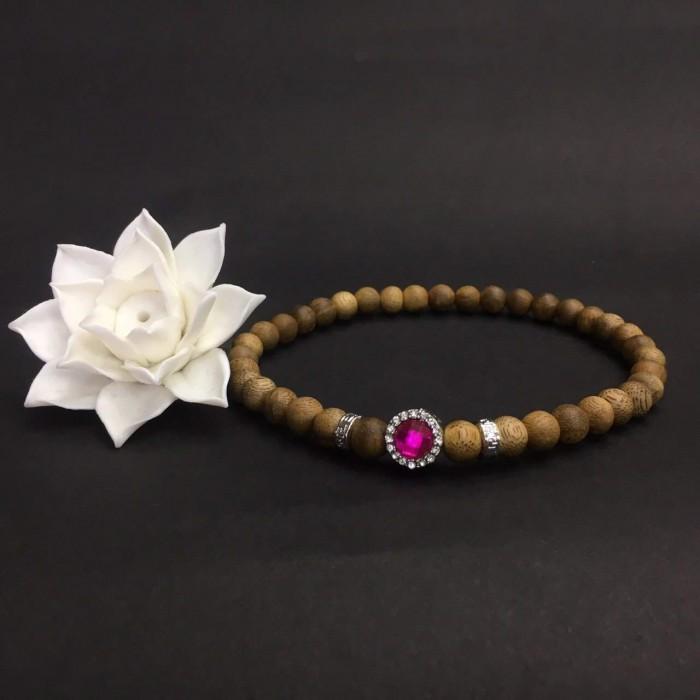 Vòng tay - Vòng đôi trầm hương 15 năm, cho nữ mệnh Hỏa (size tay 14~15.5 cm), dạng hạt tròn: 37 hạt x 8 mm , phối charm trụ đá hồng - 2