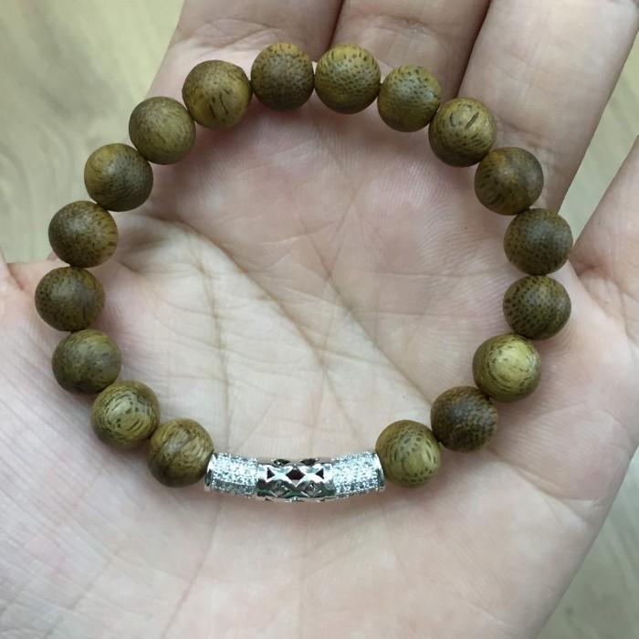 Vòng tay - vòng trầm 15 năm, cho nữ (size tay 14~15.5 cm), dạng hạt tròn: 18 hạt x 8 mm, charm Bạc 925 - 3