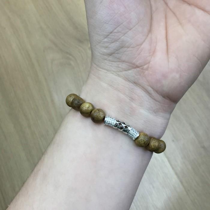 Vòng tay - vòng trầm 15 năm, cho nữ (size tay 14~15.5 cm), dạng hạt tròn: 18 hạt x 8 mm, charm Bạc 925 - 4