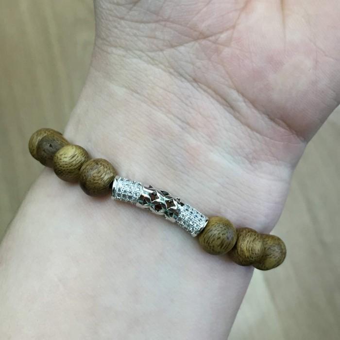 Vòng tay - vòng trầm 15 năm, cho nữ (size tay 14~15.5 cm), dạng hạt tròn: 18 hạt x 8 mm, charm Bạc 925 - 6