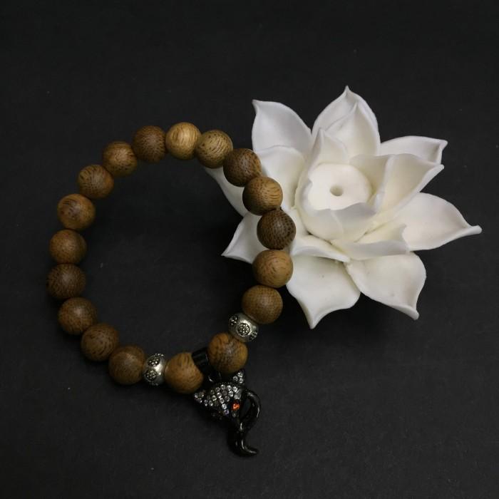 Vòng tay - vòng trầm 15 năm, cho nữ (size tay 14~15.5 cm), dạng hạt tròn: 18 hạt x 8 mm, charm Hồ Ly Đen (Bạc 925) - 1