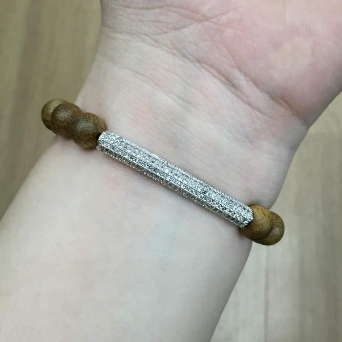 Vòng tay - vòng trầm 15 năm, cho nữ (size tay 14~15.5 cm), dạng hạt tròn: 18 hạt x 8 mm, charm Lá (Bạc 925) - 4
