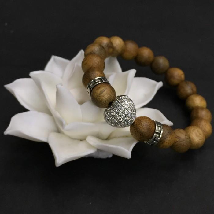Vòng chuỗi trầm hương - vòng trầm 15 năm, cho nữ (size tay 14~15.5 cm), dạng hạt tròn: 18 hạt x 8 mm, charm Trái Tim (Bạc 925) - 2