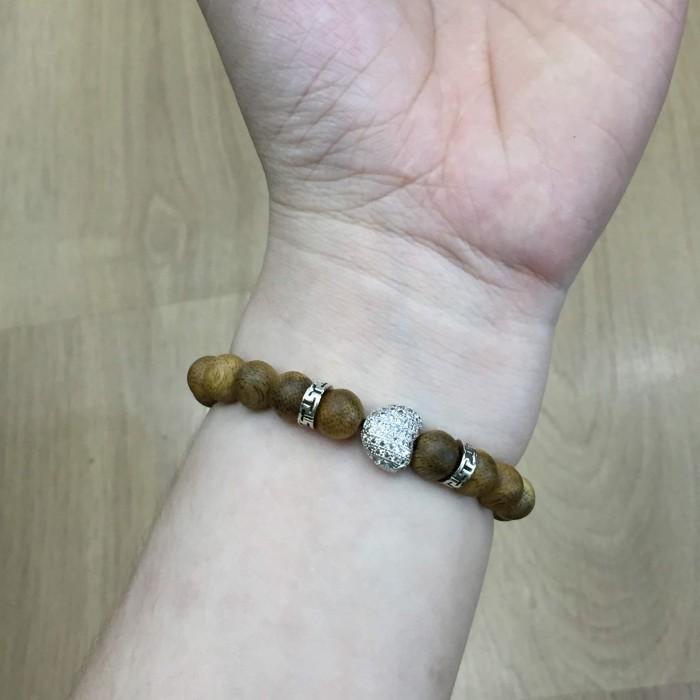 Vòng chuỗi trầm hương - vòng trầm 15 năm, cho nữ (size tay 14~15.5 cm), dạng hạt tròn: 18 hạt x 8 mm, charm Trái Tim (Bạc 925) - 3