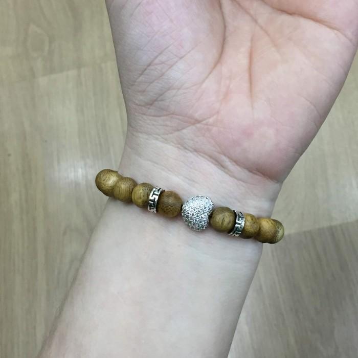 Vòng chuỗi trầm hương - vòng trầm 15 năm, cho nữ (size tay 14~15.5 cm), dạng hạt tròn: 18 hạt x 8 mm, charm Trái Tim (Bạc 925) - 4