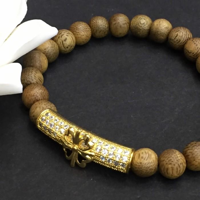 Vòng tay - vòng trầm 15 năm, cho nữ (size tay 14~15.5 cm), dạng hạt tròn: 22 hạt x 6 mm, charm trụ (mạ vàng) - 4