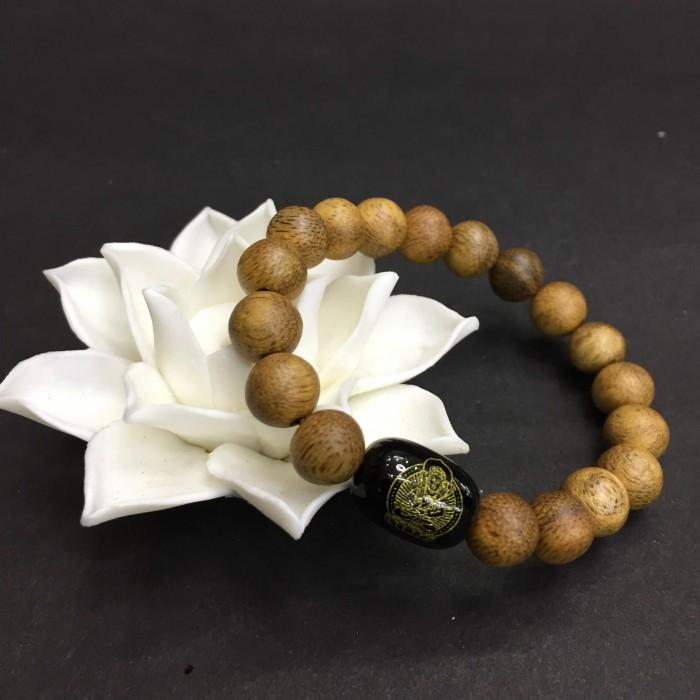 Vòng tay - vòng trầm hương 15 năm, cho nữ (size tay 14~15.5 cm),dạng hạt tròn: 18 hạt x 8 mm, charm Đá Đen - 1