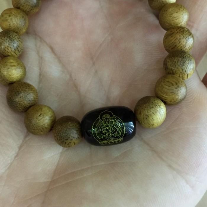 Vòng tay - vòng trầm hương 15 năm, cho nữ (size tay 14~15.5 cm),dạng hạt tròn: 18 hạt x 8 mm, charm Đá Đen - 5