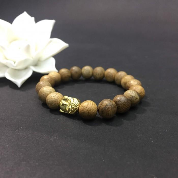 Vòng tay - vòng trầm hương 12 năm, cho nữ( size tay 14~ 15.5 cm),dạng hạt tròn: 18 hạt x 8 mm, charm Mặt Phật Vàng (bạc 925) - 2