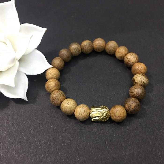 Vòng tay - vòng trầm hương 12 năm, cho nữ( size tay 14~ 15.5 cm),dạng hạt tròn: 18 hạt x 8 mm, charm Mặt Phật Vàng (bạc 925) - 3