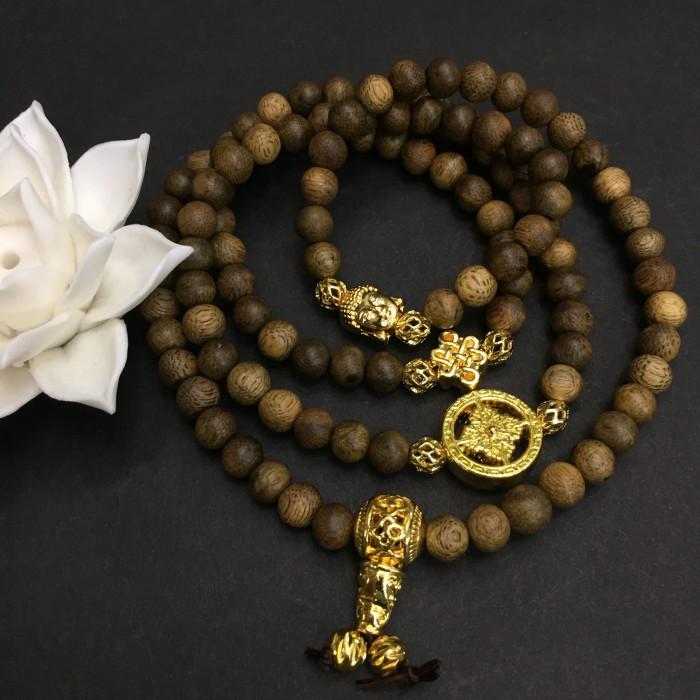 Vòng tay - vòng trầm hương 12 năm, cho size tay nữ (size tay 14~15.5 cm), dạng hạt tròn:108 hạt x 6.5 mm, charm phong thuỷ (mạ vàng) - 1