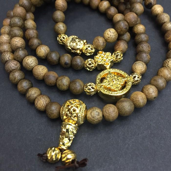 Vòng tay - vòng trầm hương 12 năm, cho size tay nữ (size tay 14~15.5 cm), dạng hạt tròn:108 hạt x 6.5 mm, charm phong thuỷ (mạ vàng) - 2