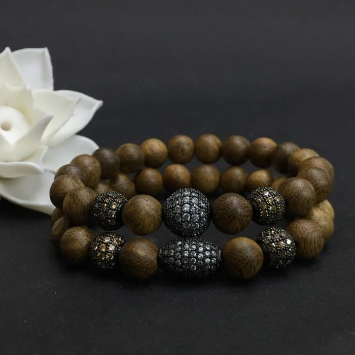 Vòng tay - vòng trầm hương 12 năm, cho size tay nữ (size tay 14~15.5 cm),dạng hạt tròn: 18 hạt x 8 mm, charm hạt châu - 2