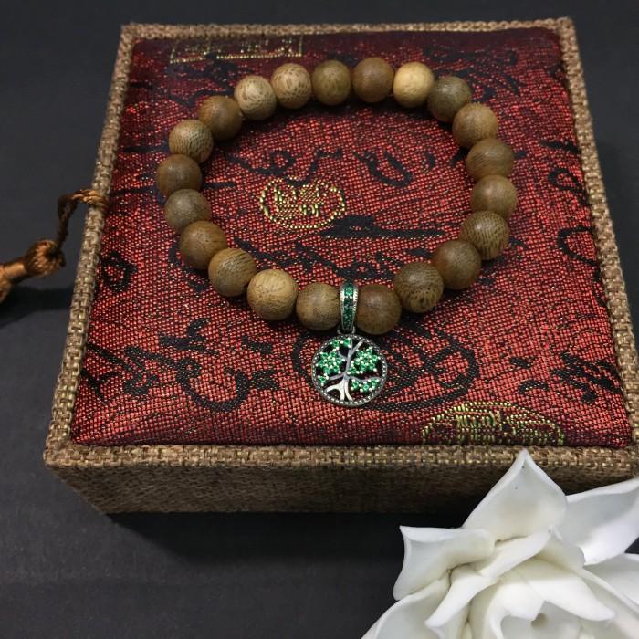 Vòng chuỗi trầm hương - vòng trầm hương 12 năm, cho size tay nữ (size tay 14~15.5 cm), dạng hạt tròn: 21 hạt x 8 mm, charm Cây Xanh Gia Đình (Bạc 925) - 2