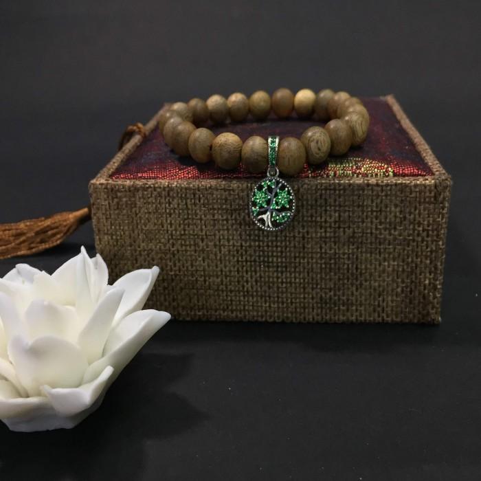 Vòng chuỗi trầm hương - vòng trầm hương 12 năm, cho size tay nữ (size tay 14~15.5 cm), dạng hạt tròn: 21 hạt x 8 mm, charm Cây Xanh Gia Đình (Bạc 925) - 3