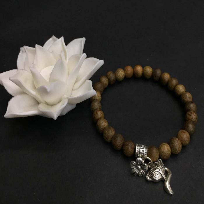 Vòng chuỗi trầm hương - vòng trầm hương 12 năm, cho size tay nữ (size tay 14~15.5 cm), dạng hạt tròn: 26 hạt x 6.5 mm, phối charm hồ ly nhỏ (bạc 925) - 5