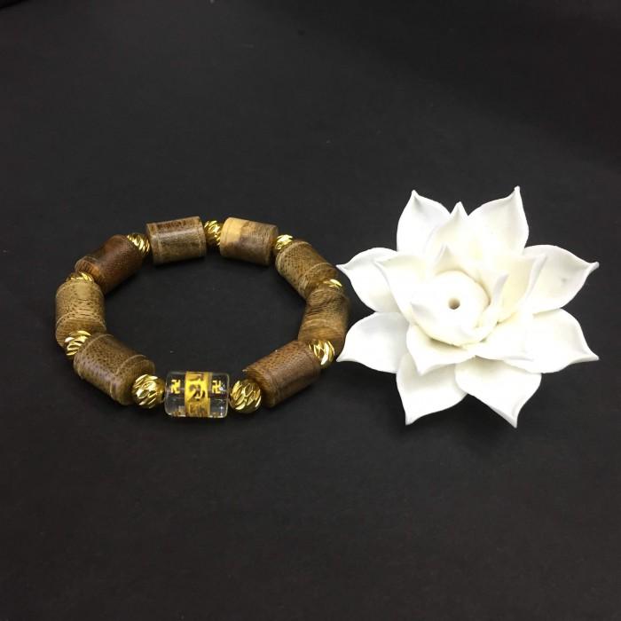 Vòng tay - vòng trầm hương 25 năm, cho nam ( size tay 16 cm ~17.5 cm), dạng hạt trúc: 8 cặp x 11 mm, charm đá chữ Om - 1