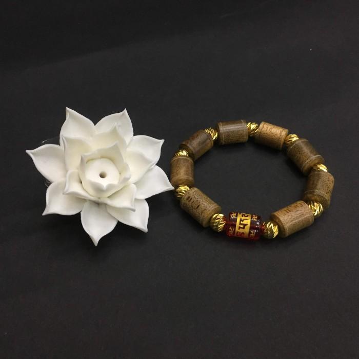 Vòng tay - vòng trầm hương 25 năm, cho nam ( size tay 16 cm ~17.5 cm), dạng hạt trúc: 8 cặp x 11 mm, charm đá chữ Om - 3