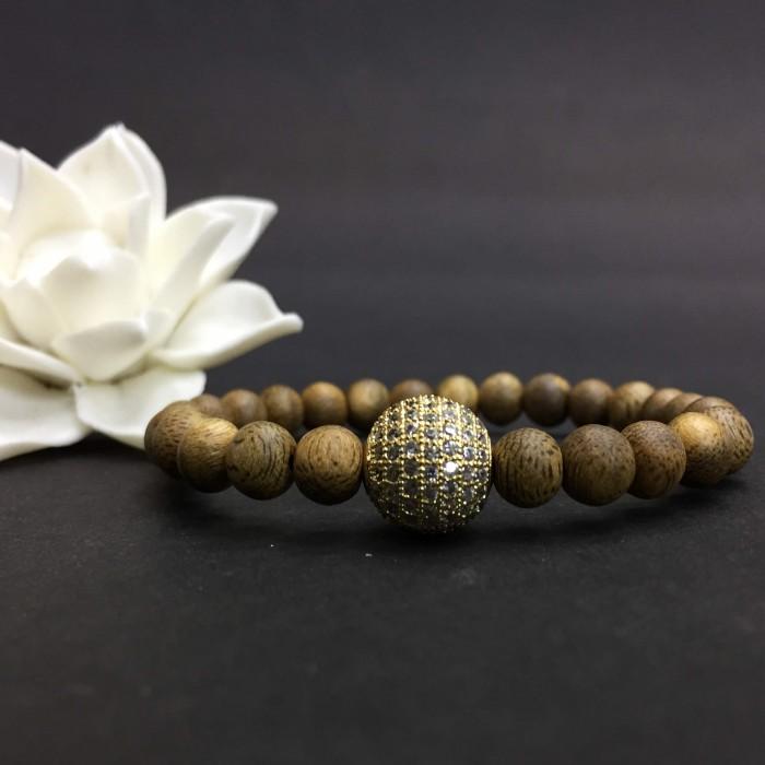 Vòng tay - vòng trầm hương 15 năm, cho size tay nữ (size tay 14~15.5 cm), dạng hạt tròn: 25 hạt x 6 mm, phối charm hạt châu (mạ vàng) - 2