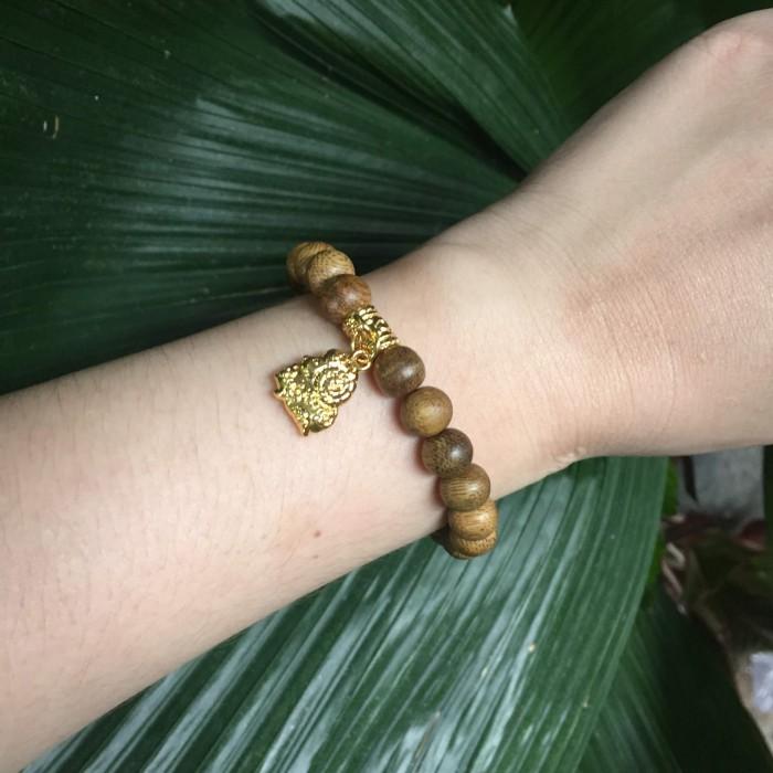 Vòng tay - Vòng trầm hương 15 năm, cho tay nữ (từ 14~ 15.5 cm), dạng hạt tròn: 21 hạt x 8mm, charm Bạc Dương (mạ vàng) - 3