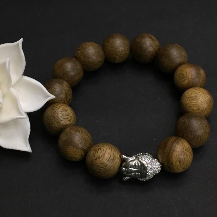 Vòng tay - Vòng trầm hương 25 năm, cho nam ( size tay 16 cm ~17.5 cm), dạng hạt tròn: 13 hạt x 14 mm, charm mặt Phật (Bạc 925) - 2