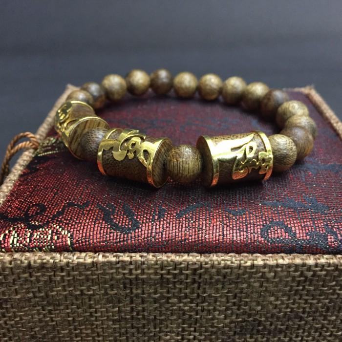 Vòng tay - Vòng trầm hương 35 năm, cho nam (size tay 17 cm), hạt tròn 9mm x 17 hạt + 3 hạt trúc vàng tây Phúc Lộc Thọ - 6