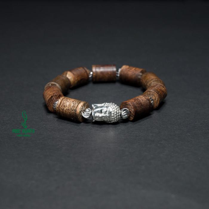Vòng tay - Vòng Trầm Hương An Lành Phối Mặt Phật Mạ Bạc - 1