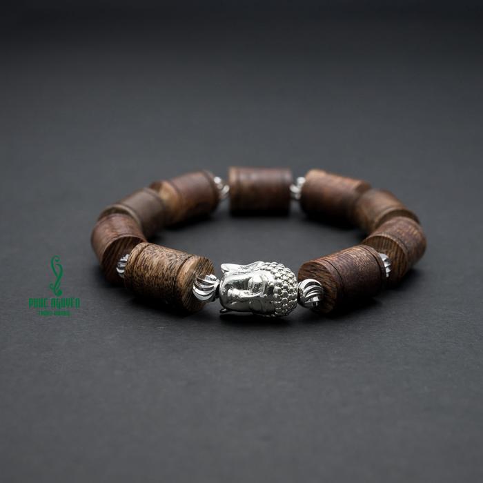 Vòng tay - Vòng Trầm Hương An Lành Phối Mặt Phật Mạ Bạc - 4