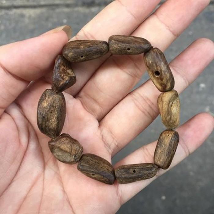 Vòng tay - Vòng Trầm Rừng, cho nữ (15.5 cm), dạng hạt tự nhiên: 10 hạt - 4