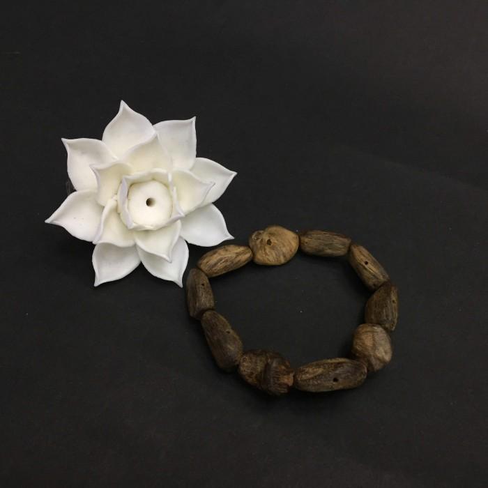 Vòng tay - Vòng Trầm Rừng, cho nữ (15.5 cm), dạng hạt tự nhiên: 10 hạt - 1