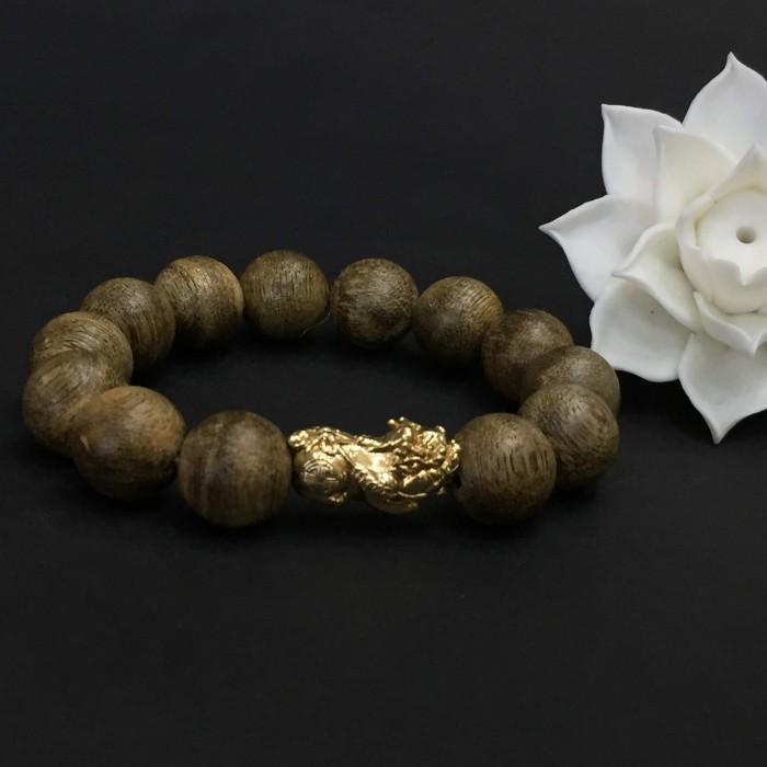 Vòng tay - Vòng Trầm Rừng Tốc Banh Xanh, cho tay nam (17.5 cm ~ 18 cm),dạng hạt tròn: 13 hạt x 14 mm, charm Tỳ hưu vàng 24k - 7